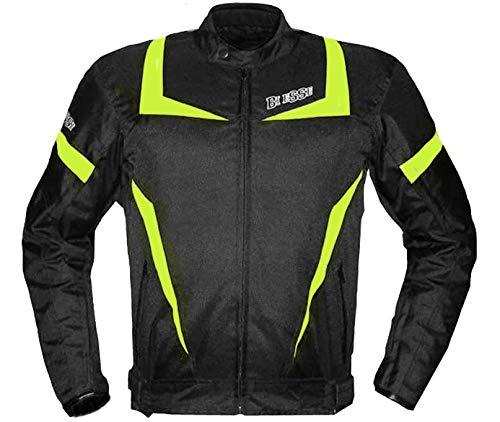 BI ESSE Giacca Moto Touring UOMO Sport Tessuto, Protezioni CE, colore Nero-Bianco, Impermeabile Regolabile, fodera termica (NERO/FLUO, S)