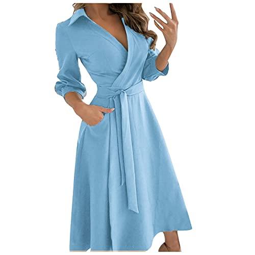 Damen Revers einfarbig siebenteilige Ärmel Lange Kleider hohe Taille Maxi Abendkleid Elegante Ballkleider Frauen Sommer mittellanges Kleid für Frauen sexy Partykleid Blau Large