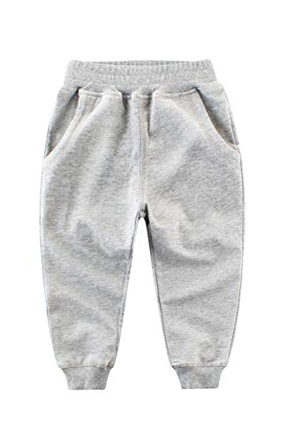 Kinder Jungen Jogginghose Baumwolle Outdoor Freizeithosen Sweathosen Sporthose (Grau, 110-115)