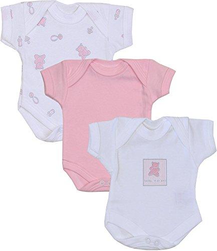 Babyprem Frühchen Baby Mädchen Kleidung Packung Mit 3 Bodys Strampelanzüge ROSA Teddy P2