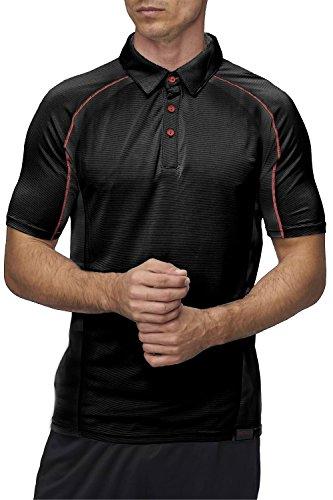 Sundried Herren Sport Polo Shirt AKTIV Fitness Bekleidung (Large, Schwarz)