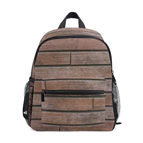 Kleiner Schulranzen Vintage Fliesen Ziegel Textur braun Rucksack für Mädchen Jungen Kinder Mini Reise Daypack Grundschule Schüler Büchertasche