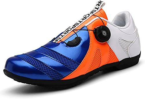 Scarpe da Bicil Scarpe da Bici da Strada, Scarpe da Bici Unisex Senza Lucchetto, Sneaker da Mountain Bike con Fondo Rigido E Scarpe da Mountain Bike Traspiranti (46,Blu Arancione Bianco)