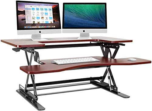 Halter Height Adjustable Stand Up Desk Pre-Assembled Sit or Stand Workstation, Elevating Desktop Riser, 36 Inches (Cherry)
