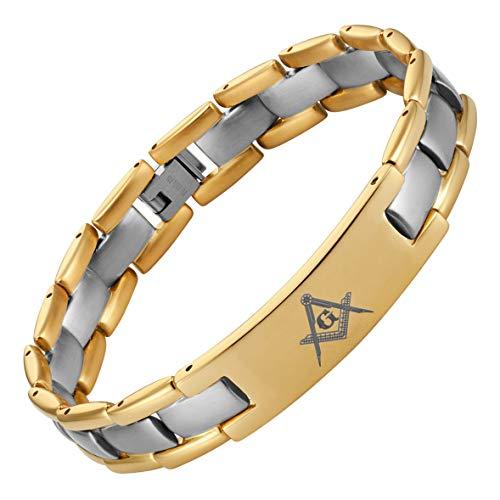 MasonicMan Two Tone Titanium Freemasonry Masonic Bracelet with Adjusting Tool and Gift Box
