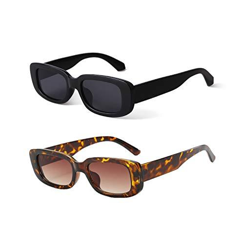 YOJUED Vintage rechteckige Sonnenbrille für Damen und Herren, modische Retro-Brille mit quadratischem Rahmen, Brille mit UV400-Schutz Gr. M, Z-Schwarz + Leopardenmuster