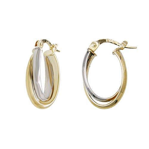 Ohrringe Creolen echt–Gold Zweifarbig Gelb und Weiß–Damen