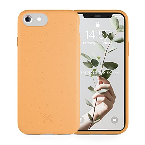 Woodcessories - Handyhülle kompatibel mit iPhone SE 2020 Hülle orange, iPhone 8 Hülle orange, iPhone 7/6 / 6s - Nachhaltig, aus Pflanzen