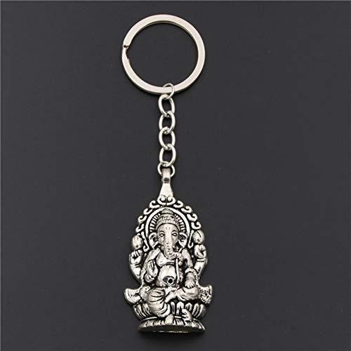 JINGRU 1pcSilber Ganesha Buddha Elefant AnhängerKuhhornRose DIY MännerAuto SchlüsselanhängerSouvenir für Geschenk Schlüsselbund