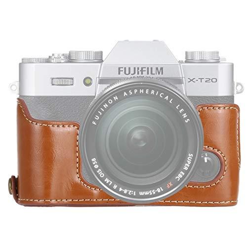 Bjhengxing High-End-Kamera-Kasten 1/4 Zoll Gewinde PU-Leder-Kamera Halb Kasten-Standplatz for Fuji X-T10 / X-T20 (Schwarz) (Farbe : Brown)