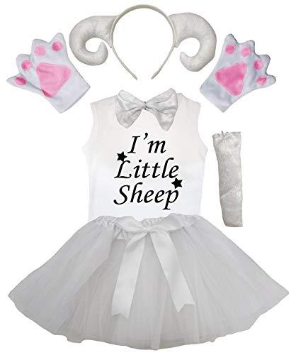 Petitebelle Diadema de cola de pajarita guantes de camisa falda de 6 piezas disfraz de nia (6-8 aos, oveja blanca)