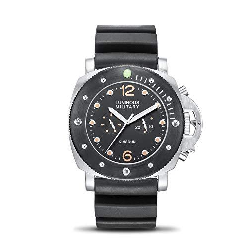 Smartwatches Automatische Mechanische Uhr Lederarmband 2 Augen Großes Zifferblatt Leuchtend wasserdichte Herrenuhr, Silver Shell Black Circle Tape