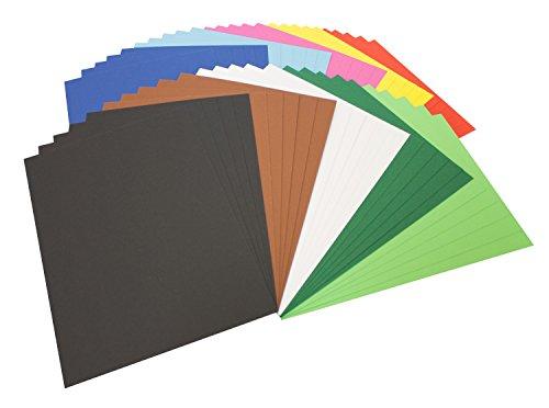 folia 614/50 09 - Fotokarton Mix DIN A4, 300 g/qm, 50 Blatt, sortiert in 10 verschiedenen Farben - zum Basteln und kreativen Gestalten von Karten, Fensterbildern und für Scrapbooking