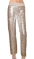 Champagne Color Sequin With Velvet Straight Leg Pants