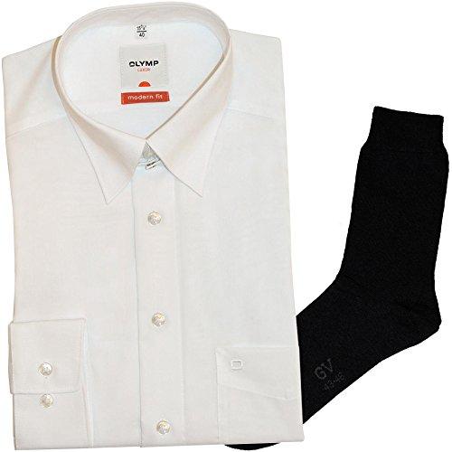 OLYMP Hemd Luxor Modern Fit - weiß, Langarm, Tab-Kragen + 1 Paar hochwertige Socken, B&le
