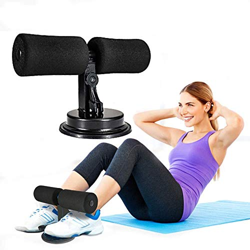 WL Portable Sit-up Bar,Adjustable Sit Up Bench with 2 Suction Cups,Home Gym Equipment Best for Weight Loss Thin Thigh Black