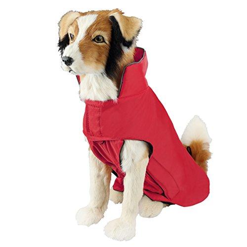 SelfLove Hundemantel aus 100% Wasserdicht Nylon Fleece Futter Jacke Reflektierende Hundejacke Warm Hundemantel Climate Changer Fleece Jacke einfaches An- und Ausziehen(S Rot)