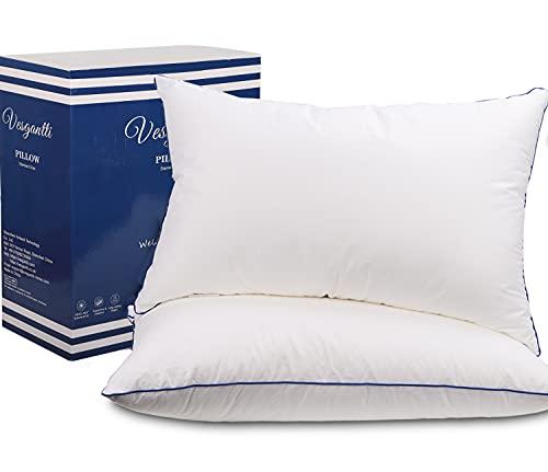 Vesgantti Luxus Kopfkissen 45X70cm 2er Set Waschbares Bettkissen Mirkofarsen 3400gsm ergonomisches Schlafkissen Opitimale Unterstützung HWS Kissen Antiallergisch Innennkissen für Alle Schlafpositionen