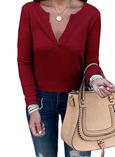 FOBEXISS Sudadera de color sólido para mujer, cuello en V, manga larga, estilo túnica informal