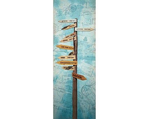 awallo Dekopanel Motiv Wegweiser in den Farben Blau Braun Türkis in 100 x 280 cm Fototapete mit Wegweiser in spannende Städte auf Vliestapete Made in Germany einfache und schnelle Verarbeitung
