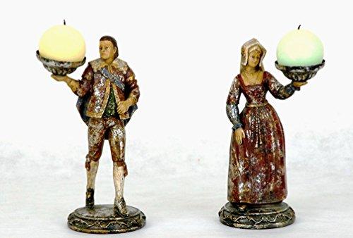 Middeleeuwse figuur paar kandelaar vanaf 27 cm # 2-# 6