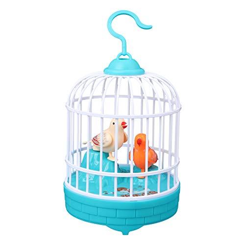 TOYANDONA 1 x Pájaro de vivo con jaula Mini juguete de inducción con control por voz que canta pájaros en una jaula de juguete para niños