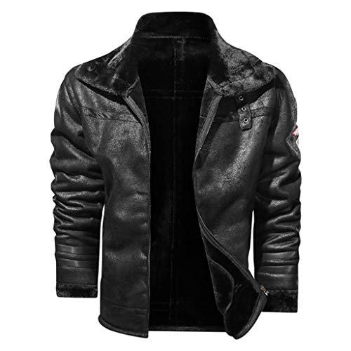 Mens invierno retro felpa solapa casual color sólido cremallera cuero abrigo Tops
