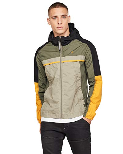 G-STAR RAW Herren Colourblock Hooded Jacke, Grün (wild Rovic C183-B111), Medium (Herstellergröße:M)
