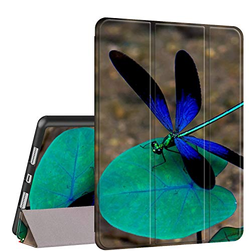 iPad 9.7 2018/2017 Case,iPad Air 2/Air Case, Rossy PU Leather TPU Shock Trifold Stand Folio Smart Cover with Auto Wake/Sleep & Pencil Holder for Apple iPad 6th/5th Gen,Blue Dragonfly