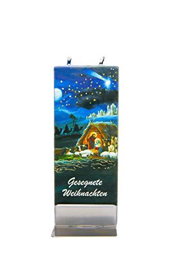 flatyz Flache besondere Kerzen Gesegnete Weihnachten. Handgemacht, geruchsneutral. Kerzen Lange brenndauer 3-4 Stunden, 60x10x150mm. Perfekt als besonderes Geschenk, Kerzen deko.