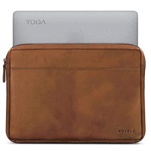 ROYALZ Tasche für Lenovo Yoga 920 Ledertasche (auch für Yoga 910, Yoga 900s & Yoga 900 geeignet) Lederhülle Hülle Schutztasche Schutzhülle Cover Sleeve Vintage Leder, Farbe:Hellbraun Matt