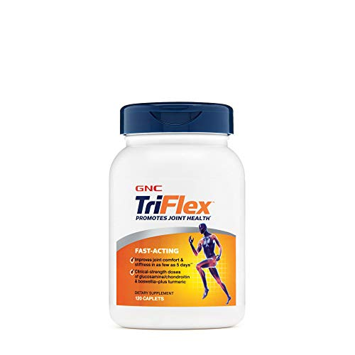 GNC TriFlex Fast-Acting | Improves Joint Comfort and Stiffness, Clinical Strength Doses of Glucosamine/Chondroitin and Boswellia- Plus Turmeric | 120 Caplets