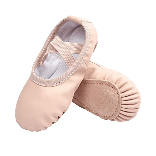 STELLE Girls Ballet Dance Shoes Slippers for Kids Toddler (Ballet Pink(Beige), 9MT)