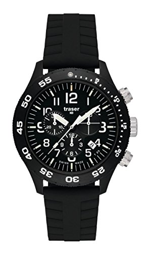 Traser H3 P67 Officer Pro Chronograph Tactical Watch Militär Armbanduhr Silikon Armband mit Faltschließe