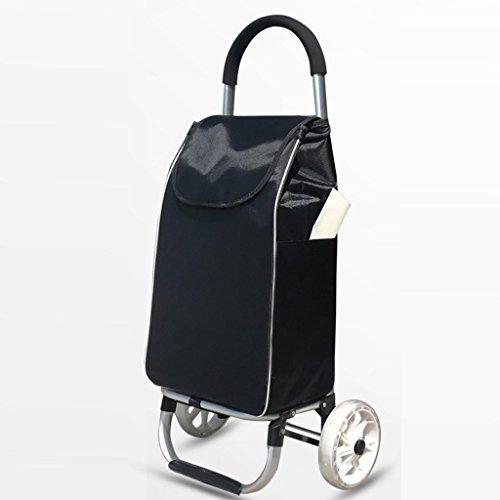 LCHEGG Carrito de la Compra liviano, Carrito Plegable del Equipaje de Las Ruedas del Coche 2 de la aleación de Aluminio de la Capacidad Grande (Color : Black)
