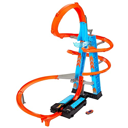 Hot Wheels Sky Crash Tower Track Set, 2.5+ ft / 83 cm High with Motorized Booster, Orange Track & 1 Hot Wheels Vehicle, Race Multiple Cars, Gift for Kids 5 to 10 Years Old & Up