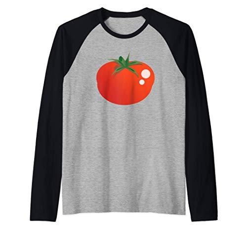 Disfraz de emoji de dibujos animados de tomate Camiseta Manga Raglan