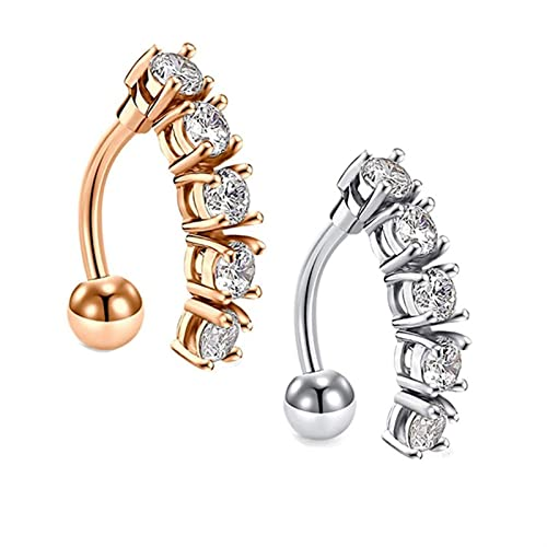 Circón con anillo umbilical redondo, colgante de acero inoxidable para ombligo, joyería de punción (Color: 1)
