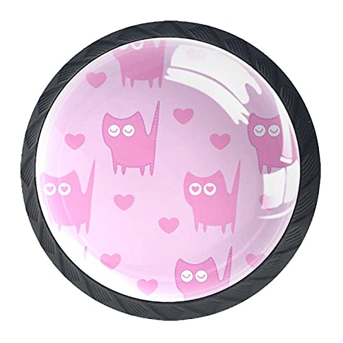 4 tiradores redondos de cristal transparente con tornillos, para cocina, cómoda, armario, baño, armario, armario, diseño sin costuras, con gatos rosas, 3,5 x 2,8 cm