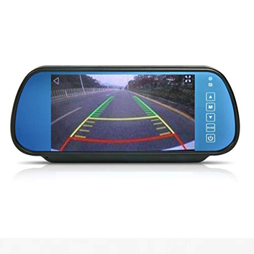 Auto 7 Pollici Monitor, Cocar 12V-24V HD 800x400 2 Canali RCA Specchietto Retrovisore con Telecomando In-Mirror LCD Schermo per Camion la Macchina Fotografica di Sostegno Retrovisione DVD Media Player