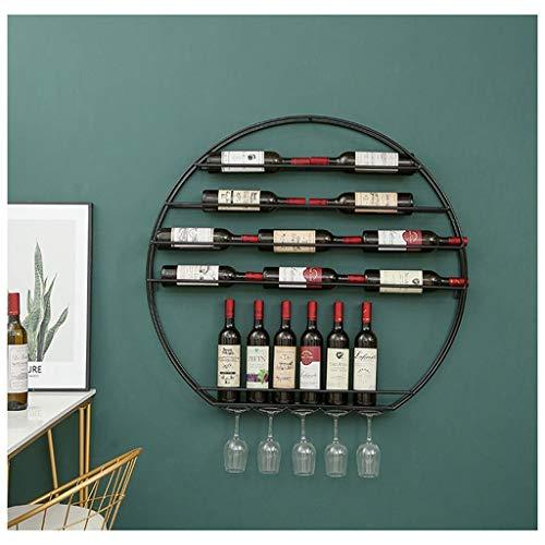 Estante para botellas de vino Estantes para vino con soporte para vasos de copas, estante para vino de metal montado en la pared, estante de exhibición de decoración de cocina para el hogar Mueble vin