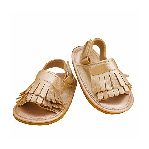 Chickwin Sandalias Niña Niños para Verano, Cómodo Zapatos Princesa Breathable Casual Encantador Floral Suela Blanda Goma Impermeable Antideslizante Calzado (EU20, Oro)
