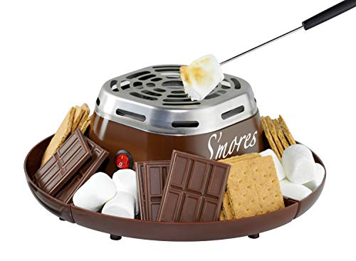 Nostalgia SMM200 Indoor Electric Stainless Steel S'mores Maker with 4 Compartment Trays...