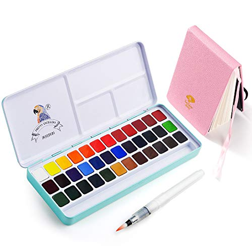 Meiliang Watercolor Paint, Set of 36 Vivid Colors in Half Pan with a 100% Cotton Watercolor Journal, Mental Box and Brush for Artists, Painting, Professionals Beginner and Painters