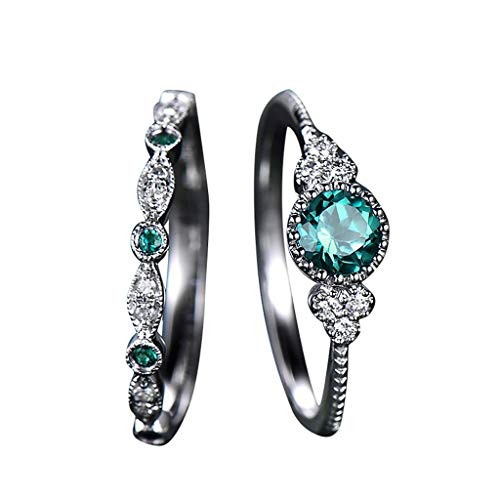 CapsA New 2pcs Sparkling Natural Gemstone Ring Set Women Emerald Sapphire Wedding Rings (9)
