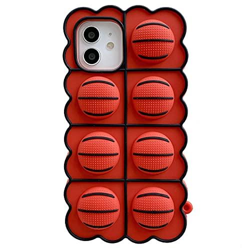 ESSTORE Funda de juguete para iPhone 8 Plus/7 Plus/6 Plus/6S Plus, Push Bubble Soft Silicona Descompresión Cubierta protectora con soporte, Baloncesto