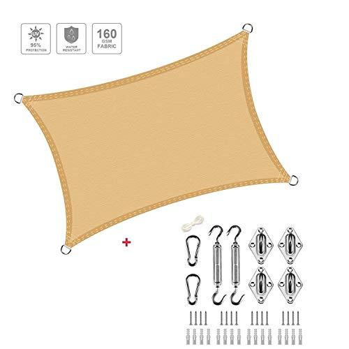 XXJF Sombra Cuadrado Toldo Resistente Protección Rayos UV Toldo Vela Resistente E Lmpermeable,toldo Vela De para Patio Exteriores Céspede, Jardín, Exteriores, (Color : Sand, tamaño : 5x7.5m)