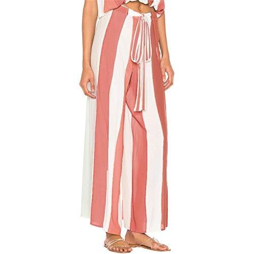 Pantalones Largos para Mujer Anchos Verano Cintura Alta PAOLIAN 2019 Pantalones Vestir Palazzo Elegantes Fiesta Cintura Alta Rayas Abiertos