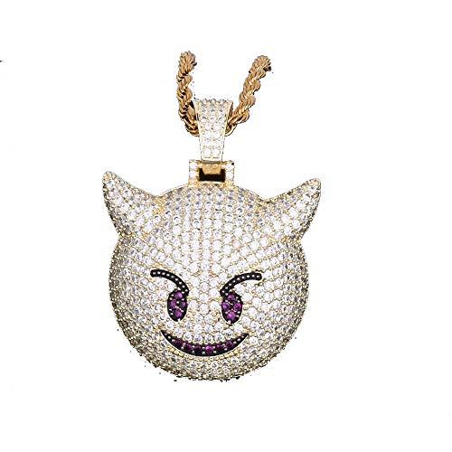 LC8 Jewelry Hip Hop Emoji Dämon Anhänger Halskette Micro-Pavé künstlicher Diamant Iced Out Bling 18 K vergoldet niedliche kreative Punk-Halskette für Männer Frauen Kinder (Gold)