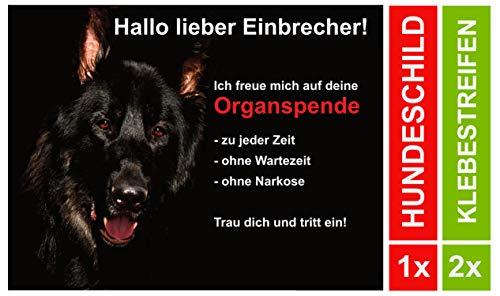 LUGUNO Hundeschilder Schäferhund Warnung Achtung Hund Schild Alu (20x15cm) mit 2 Klebestreifen